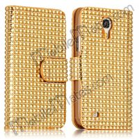 Bling Bling Case Crystal Surface Magnetic Hard PC+Leather Waterproof Case for Samsung Galaxy S4 Mini I9190 With Card Slot
