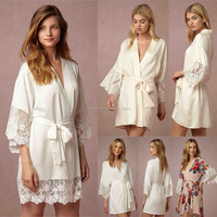 Women's 100% Satin Short Floral Wedding Robes Bridesmaids Dressing Gown Weddings For Bridal Party Gifts Birthday Vacation Spas