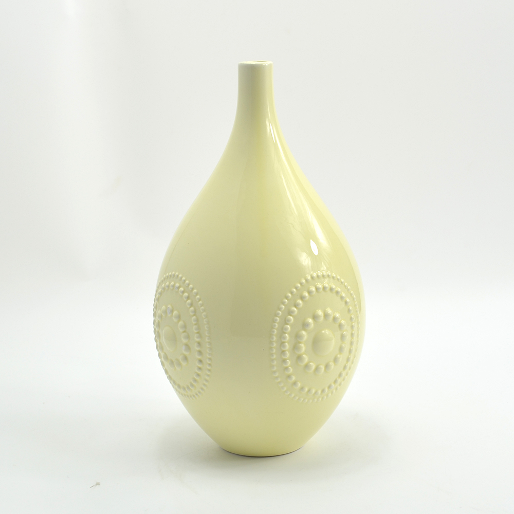 Carved Ivory Ceramic Decoration Flower Vase