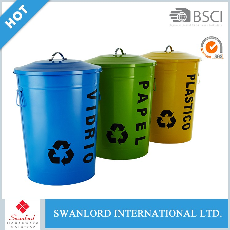 Any color galvanize coating metal standing waste bin with silk print