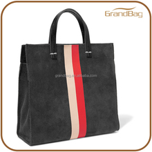 suede textured leather crossbody bag tote bag with bold red and blush stripes