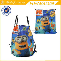 Fancy and adorable cartoon frozen , minions printed drawstring shoes backpack bag
