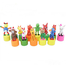 wholesale new style table decoration hand pressing cute animal decoration kids wooden toys
