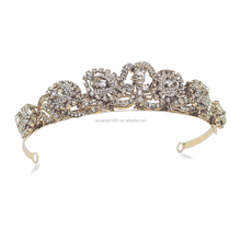 Factory Directly Wedding Bridal Accessories Gold Crystal Headpiece Tiara For Women