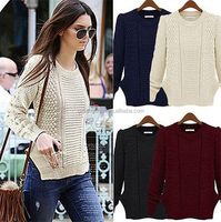 European fashion women woolen sweater new designs for ladies pullover sweater white casual knitted jumpers