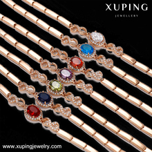 74796 Xuping Gold jewellery dubai, jewelry rose gold chain bracelet, Custom crystal diamond bangle fashion bracelet