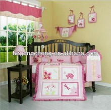 comfortable baby crib lovely applique embroidery and printing bedding set