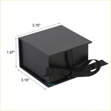 black hair packaging cardboard paper gift box with ribbon
