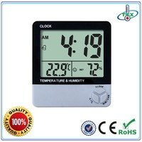 kids plastic alarm clock with temperature humidity thermometer