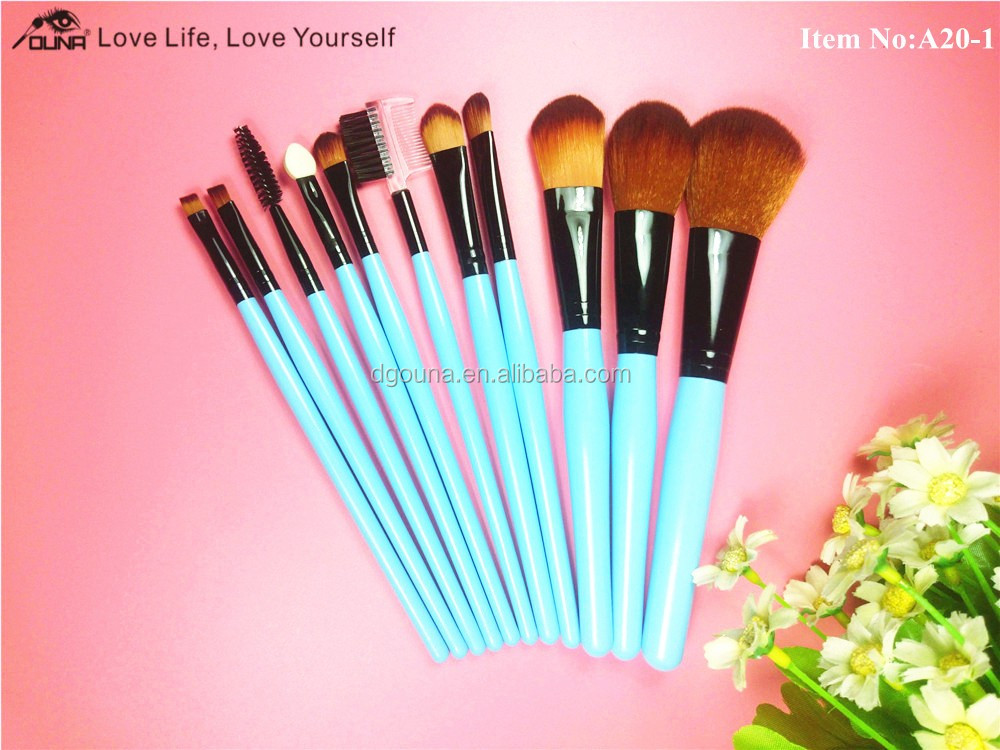 OUNA hotsale 5% discount 11Pcs/set Wood Handle Makeup Cosmetic Eyeshadow Foundation Concealer Brush