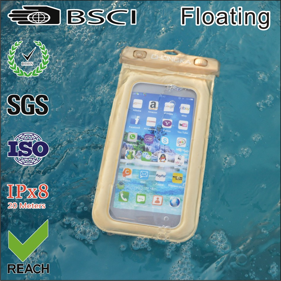 pvc waterproof cell phone case for mobile