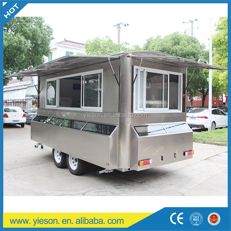 Mobile Kitchen Food Van / food trailer/China Multi-function Mobile Food Carts With Big Wheels YS-FV450