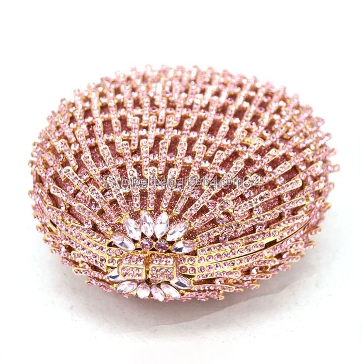 Luxury ladies pink shape crystal clutch evening bags for party wedding prom