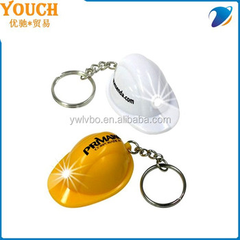 Supply Youch Mini Hard Hat Light Led Keychain/Keyring/keyian/key ring, Imprint Logo Helmet Led Keychain---Top Sellers
