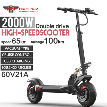 New Two 10 Inch Wheels Dual Motors High Speed 2000W 60V Electric Scooters Adult