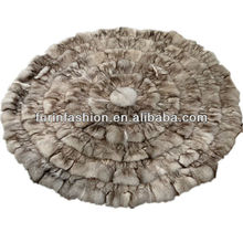Genuine Round Fox Fur Rugs For Home Decorative
