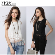 2016 new fashion girls tops with tassels latest design girls fancy top lace