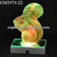 glass squirrel with LED light for decoration