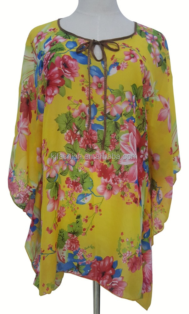 Fashion women beach party wear dress yellow color flower printed shawl
