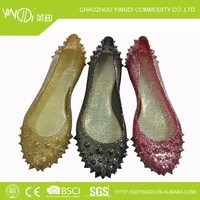 2015 new stylish women pvc jelly shoes upper glitter and shapes sandles glitter all body in hot selling