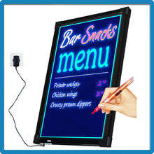 Newest promotion factory direct RGB full color acrylic led writing board 3000mA battery capacity led backlit boards erasable