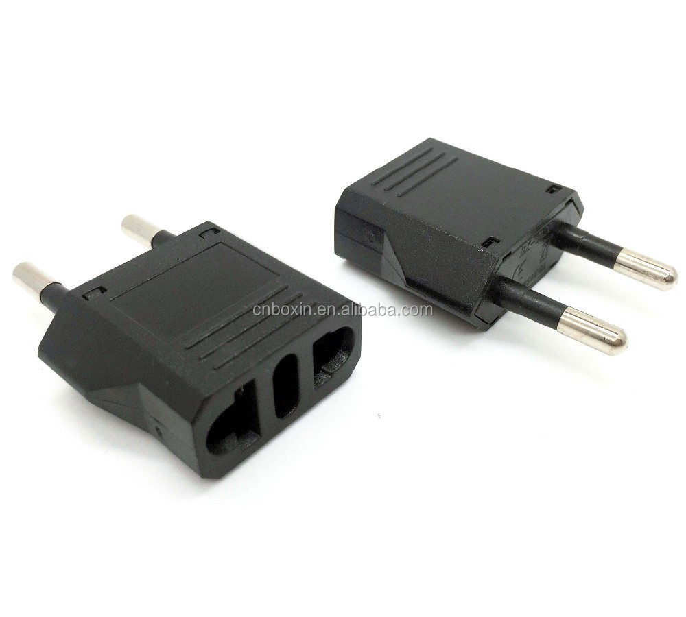 US USA to EU Euro Europe Power Jack Wall Plug Converter Travel Adapter