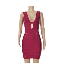 2015 New Women's Sexy Celebrity Bandage Dress Deep V-neck Open Back Spikes Hollow Fashion Cocktail Party Prom Sleeveless Dresses