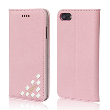 Colorful beautiful pink pu leather high quality flip stand cases for iphone 7 mobile phone