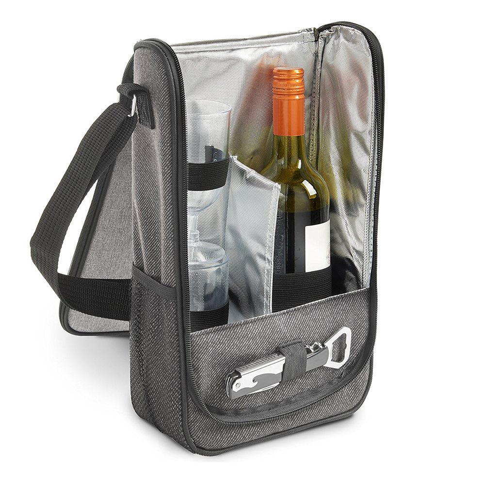 2 Bottle Wine Carrier Bag Tote Insulated Food Cooler bag Waterproof picnic bag