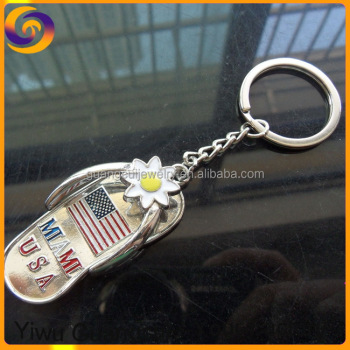 2017 Zinc alloy metal MIAMI USA flag sandal keychain key chain