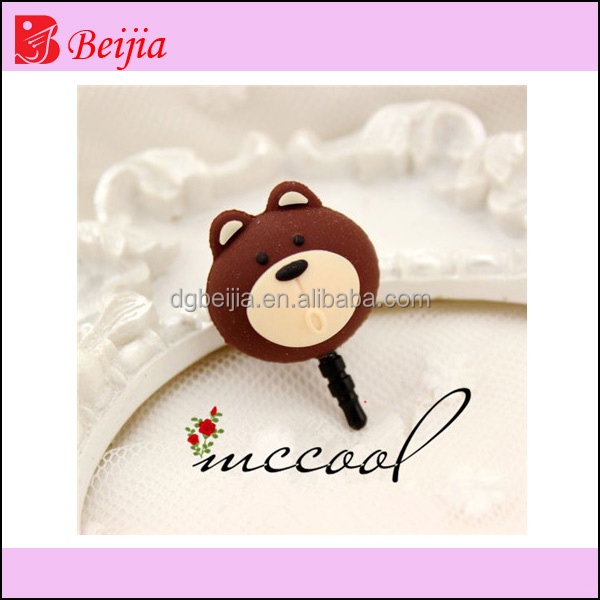 Lovely bear silicone rubbet soft pvc dust plug for free mobile phone accessories