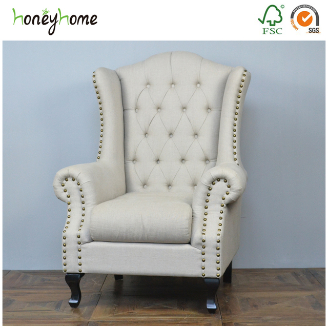 French Comfortable Royal King Queen Anne Chesterfield Accent Wedding Throne Baroque Wing Office Hospital High Back Chair