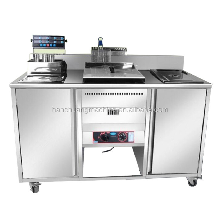 Mobile gas or electric fryer food cart potato chips and chicken fryer machine for sale outside