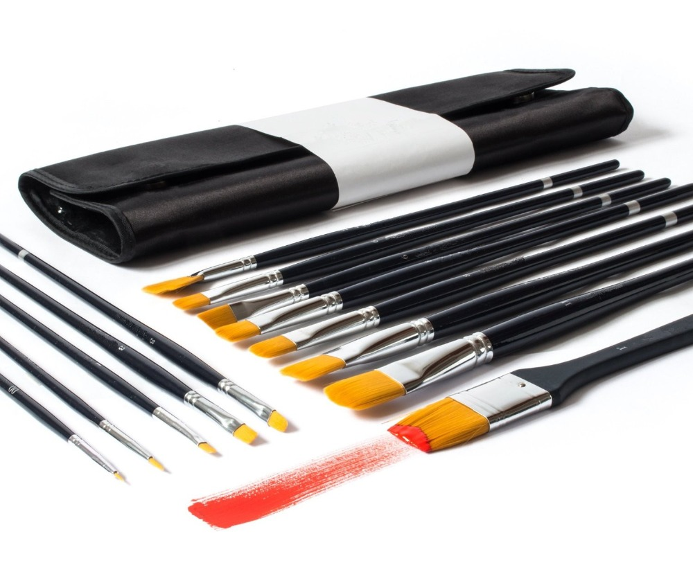 Acrylic Watercolor Painting 13 Brushes Best Artist Paint Brush Set