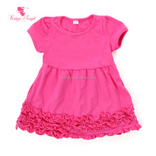Plain design new style girl's party dress for kids