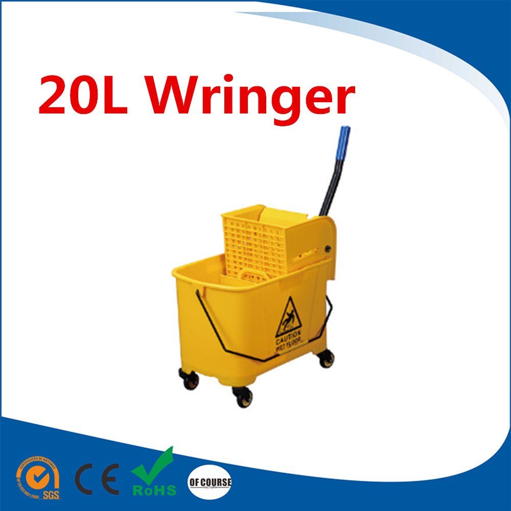 20L/24L/32L Deluxe Mop Wringer,ABS plastic material hand press plastic mop bucket with wringer