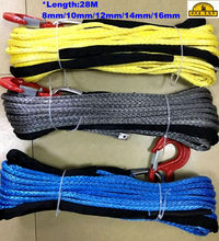 4x4 winch rope with hook 28m*8mm,10mm,12mm for outdoor recovery kits