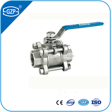 Material stainless steel 304 famale three-pc ball valve with manual handle