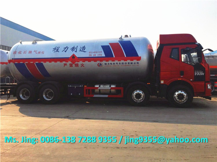 High quality faw 8x4 bulk lpg truck 35.5m3 propane transportation truck sale in Kyrgyzstan