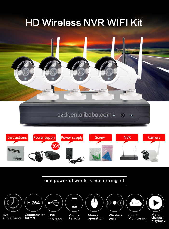 High quality ir waterproof 4ch cctv camera wireless nvr kit 720P
