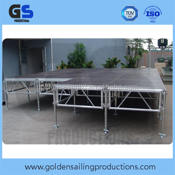 Aluminum stage with stairs, curtains, used stage curtains for sale