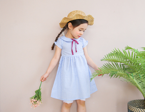 Bebezoo Summer Superior Short Sleeve Plaid Bow Tie Ruched A-Line Refreshing Girl Baby Clothes Child Dress Girls