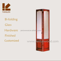 colored solid pine wood tempered glass folding design frameless glass doors interior