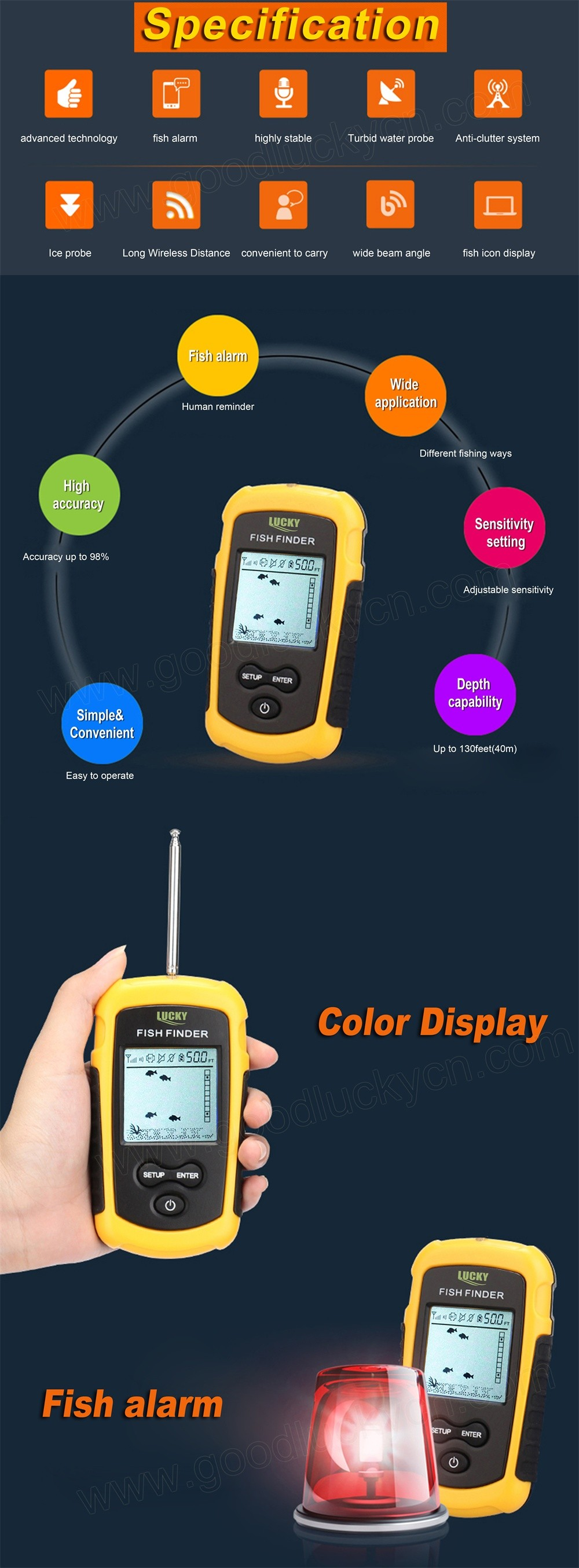 Lucky FFW1108-1 Portable 120m Wireless Fish Finder 40M/120FT Sonar Depth