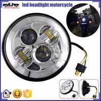 "BJ-HL-012 Custom Silver 7"" Round 40W LED Projector Motorcycle Headlight For Harley"