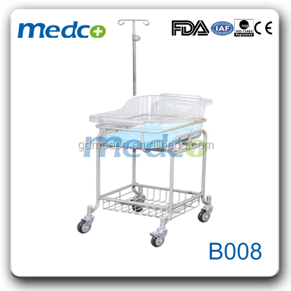 Medco B008 Hospital movable metal baby cot with iv pole