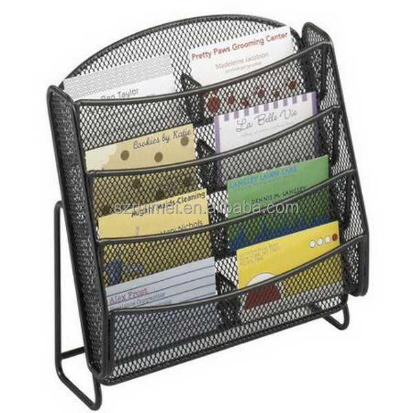 Wire mesh metal business card display rack
