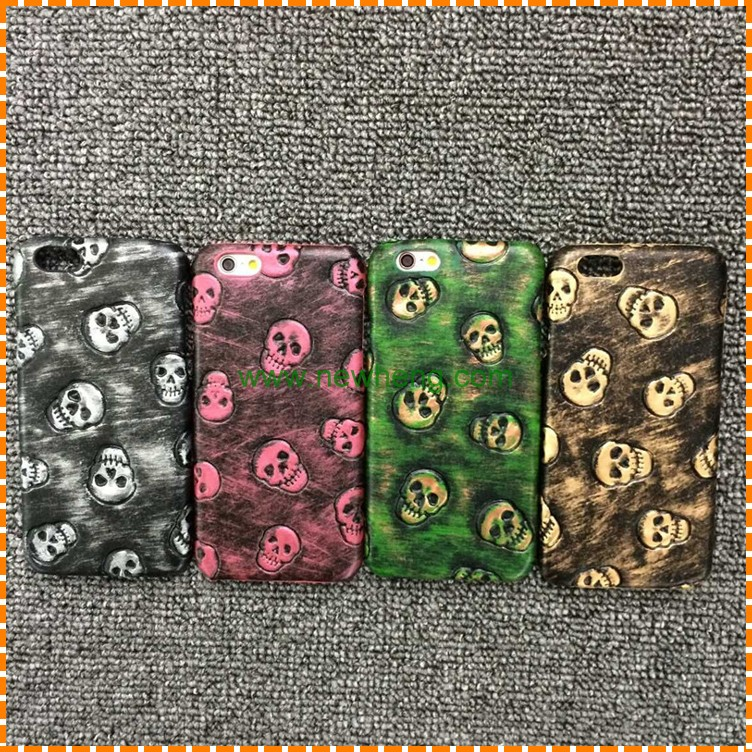 Retro Couple Ultra Thin Skull skin Leather Hard Back Cover Case For Iphone 6/6s