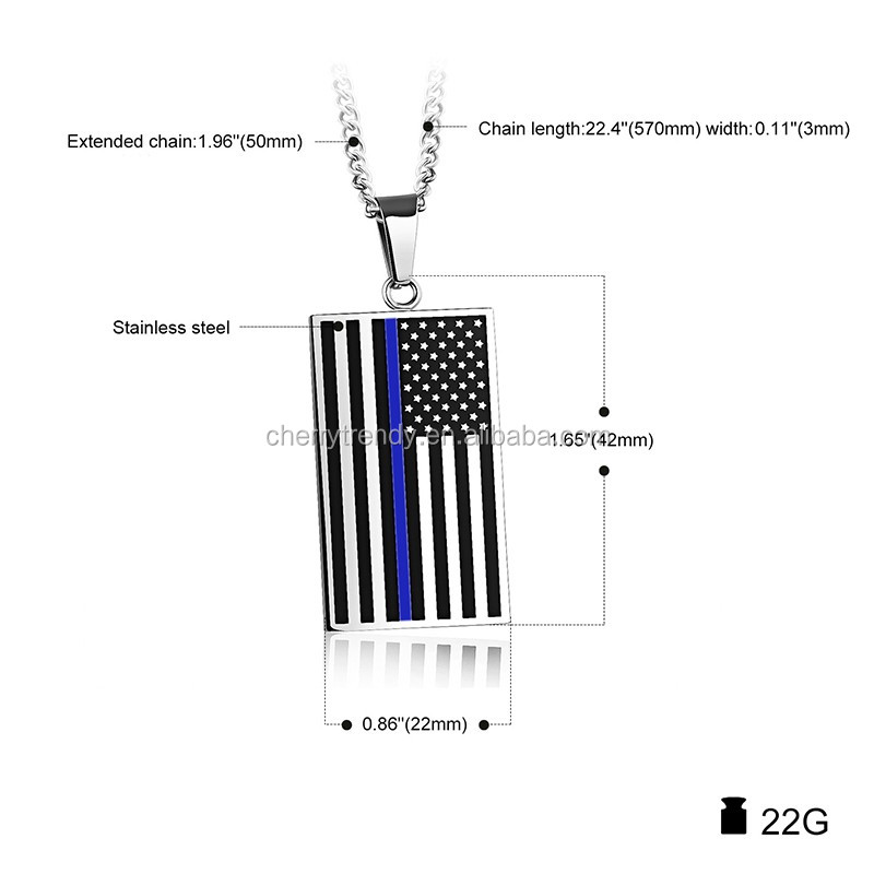 Blue Line American Flag Pendant Necklace Stainless Steel /18k Gold Plated USA Flag Necklace