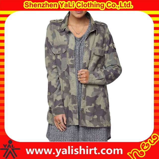 New deign cheap durable plus size button front chest pockets 100%polyester twill military camouflage jacket for women